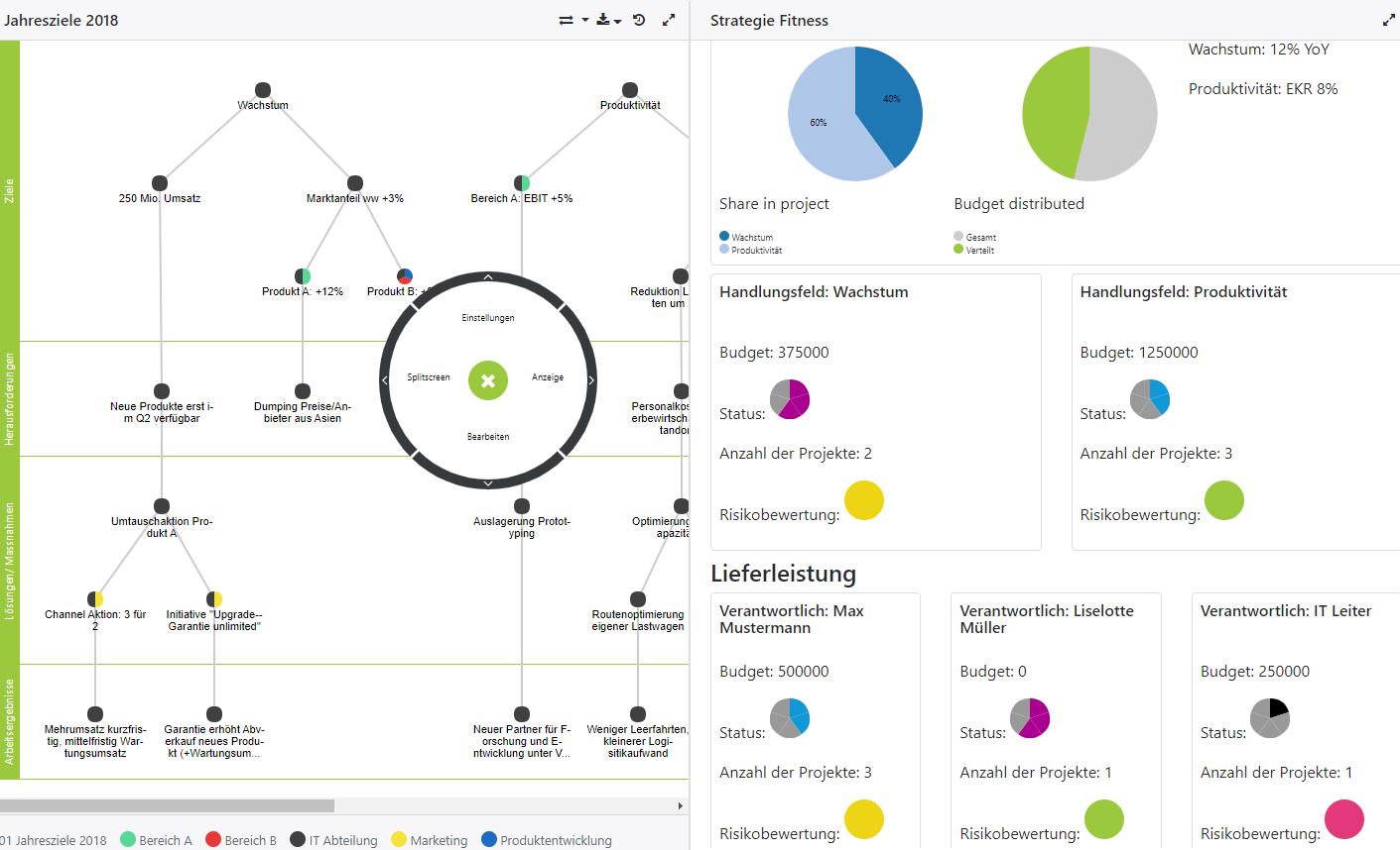 Strategie Dashboard Zielmanagement Software